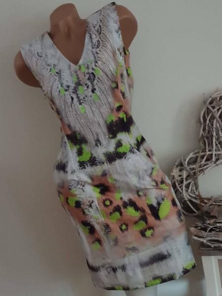 MISSY Glitzer Stretchkleid S 36 Kleid ärmellos weiss neongrün schwarz Strickprint