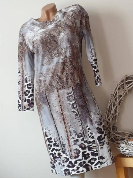 Leo Mix Print MISSY Stretchkleid M 38 Etuikleid Kleid 3/4 Ärmel Neu Glitzer