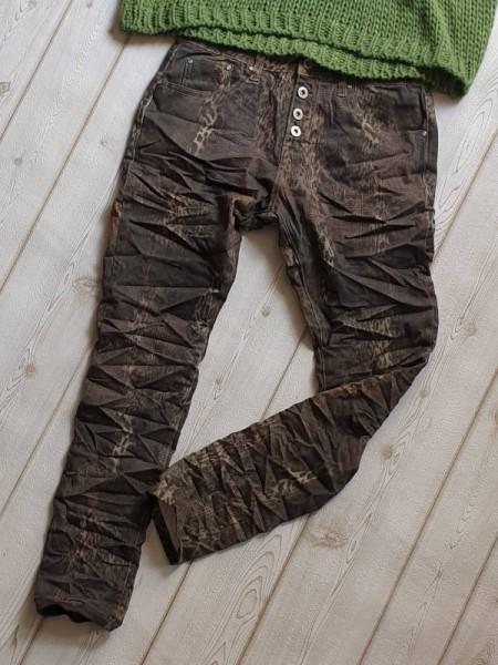 Gr. 36 Hose Animal grün PLACE DU JOUR Knopfleiste Jeans Baggy Boyfriend