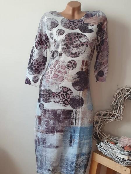 Leo Kreise Print Feinstrick Kleid Strickkleid S/M 36 38 MISSY Glitzer 3/4 Ärmel