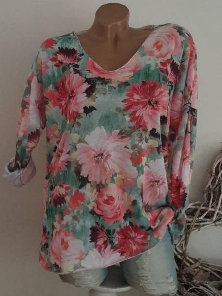 bunt floral V-Neck 38 40 42 Tunika Feinstrick Longsleeve Shirt Lurexsaum