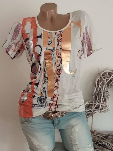 XL 42 MISSY T-Shirt Shirt cremeweiss gemustert Metallicprint silber/roségold NEU