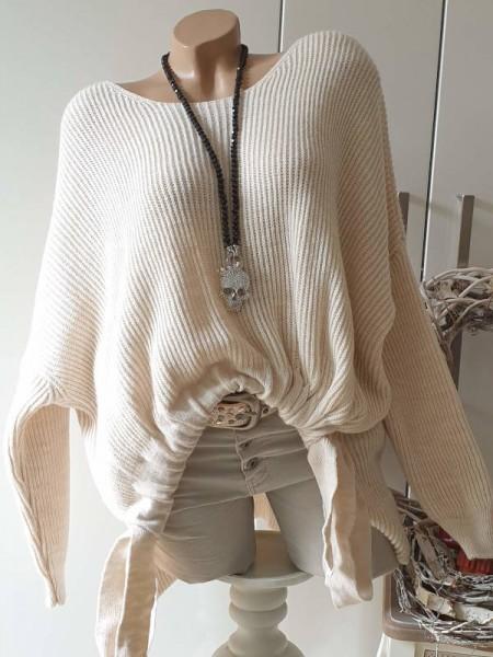 beige 38 40 42 44 oversized Pullover seitlich zum raffen NEU