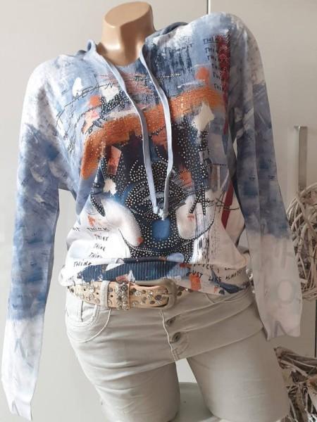 Feinstrick Kapuze L/XL 40 42 MISSY Pulli Pullover Neu jeansblau bunt Glitzer