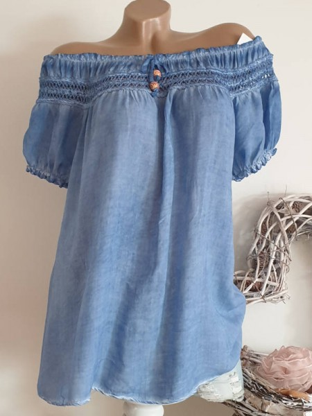 jeansblau Tunika Off Shoulder Italy Carmen Bluse 40 42 44 Viskose luftig
