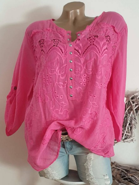 Stickerei Viskose 38 40 42 Tunika Bluse Hemdbluse pink Nietenleiste 2tlg