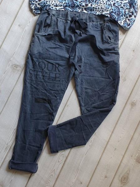 Baggy Tunnelzug Hose jeansblau Glitzer Steinchen Nieten 38 40 42 Jogpants