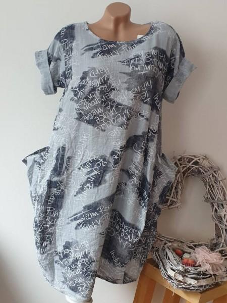 Ballonform Kleid mit Taschen 42 44 46 Kurzarm Italy Tunika blau gemustert