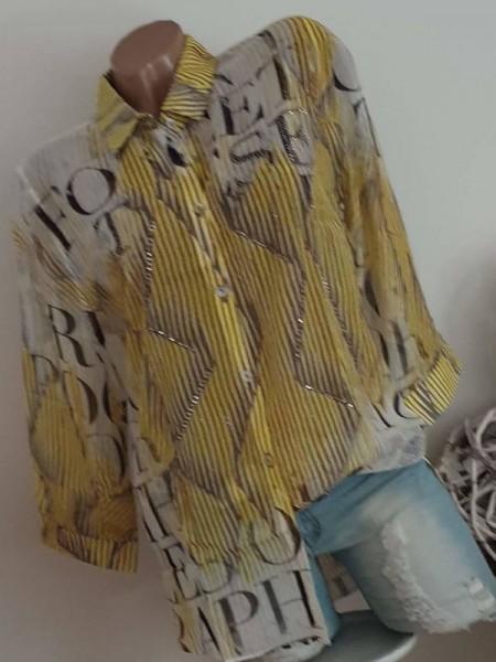 Hemdbluse MISSY Bluse M 38 gelbgrün/khaki mit Glitzergarn Tunika zum knöpfen NEU