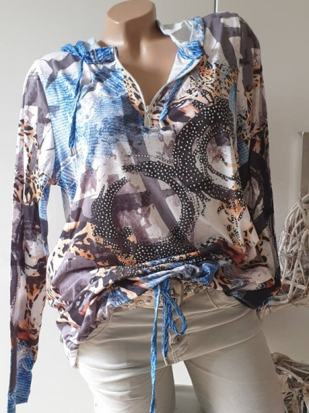 Longsleeve Tunika Shirt mit Zipper L 40 Tunnelzug MISSY Glitzer