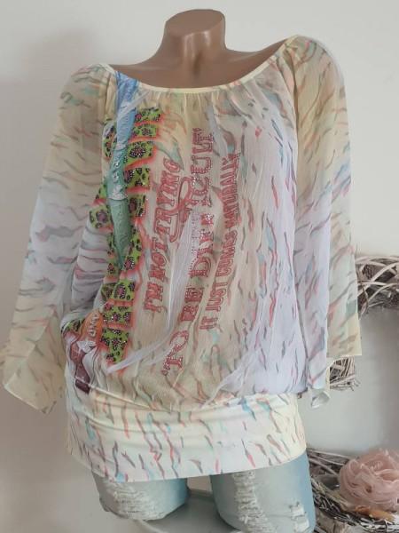 weite Ärmel M/L 38 40 MISSY Chiffon long Tunika Bluse breiter Bund