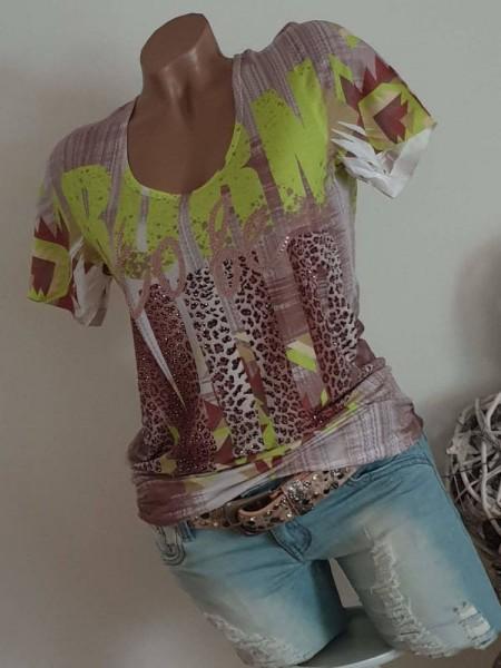 MISSY Tunika L 40 Shirt Leo taupe neongrün Letterprint Glitzer NEU