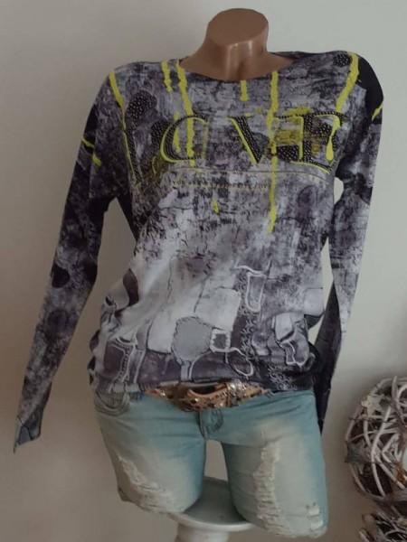 Pullover MISSY L/XL 40 42 grau schwarz weiss neongelb Feinstrick Nieten Glitzer