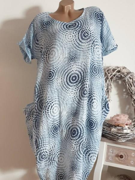 Kleid Ballonform blau gemustert Taschen 42 44 46 Kurzarm Italy Tunika