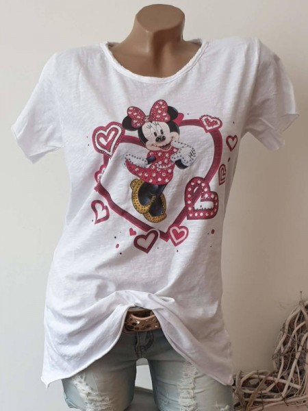 T-Shirt Shirt 36 38 40 42 Tunika verliebte Mouse Glitzer Nieten unfinished