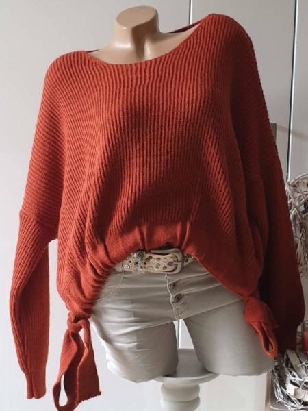 rost 38 40 42 44 oversized Pullover seitlich zum raffen Neu