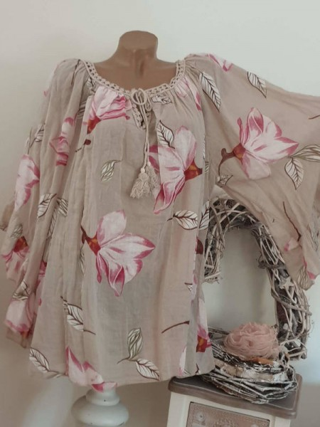 Tunika Bluse 44 46 48 50 weite Ärmel beige floral Baumwolle Italy