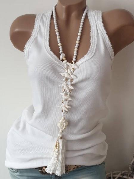 Ibiza Kette Halskette Hippie Perlen Charms Muscheln weiss