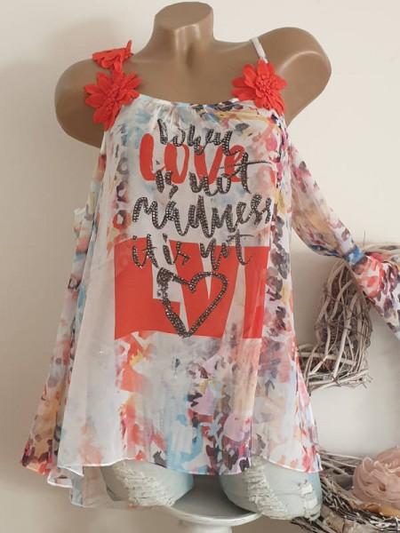 L 40 Bluse schulterfrei MISSY Chiffon Tunika orangefarbene Blütenträger Glitzer Neu
