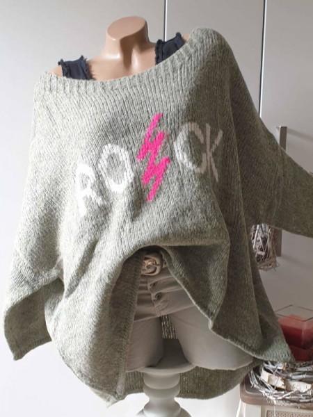 38 40 42 44 46 oversized Pullover Strickpullover vorne kürzer abgerundet