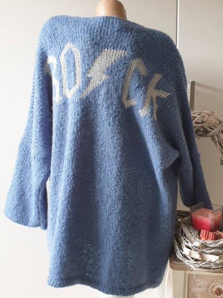 Cardigan jeansblau Strickjacke Oversize NEU 40 42 44 46 Ärmel überschnitten Rock Lurex