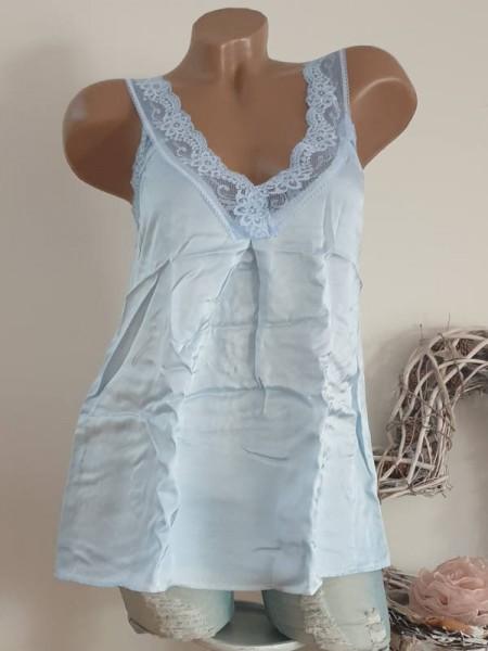 hellblau 36 38 40 Shirt Untershirt Top Spitze Spitzentop A-Form