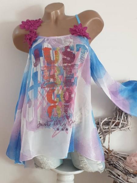 M 38 MISSY Chiffon Tunika lila blau bunt Blütenträger Bluse schulterfrei Glitzer Neu