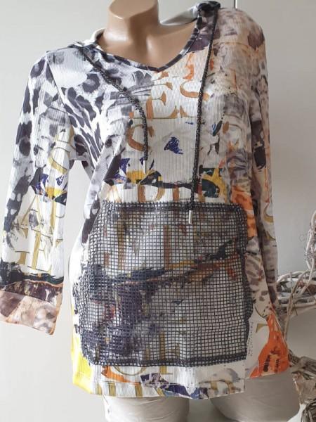 MISSY XL 42 Tunika Pullover Feinstrick Longsleeve mit Kapuze Mesh Tasche
