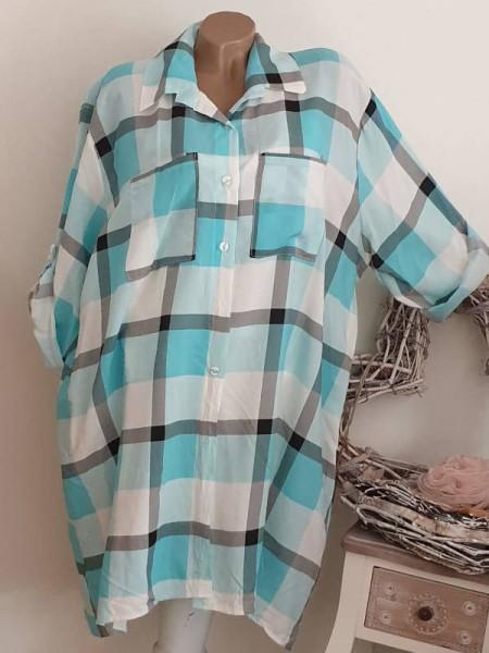 Leichte Baumwolle Kleid 44 46 48 Hemdblusenkleid türkis hellblau weiss kariert