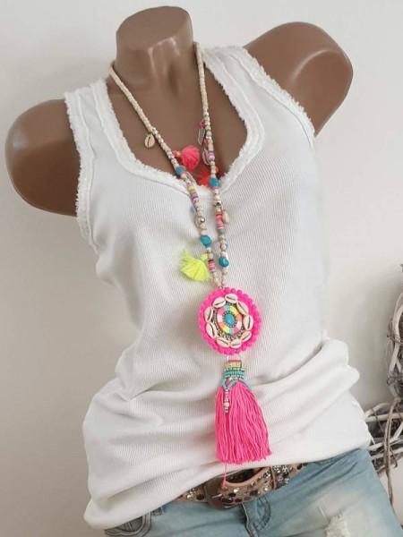Kette Halskette beige pink neon Quasten Perlen Ibiza Hippie Damenkette neu