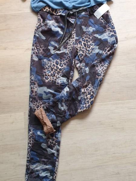 38 40 42 butterweiche Joggpants Hose camouflage blau gemustert Glitzerband Neu