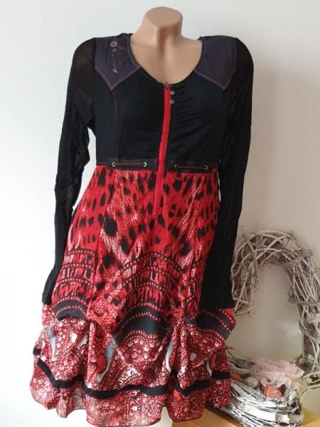 44 Stiefelkleid Reissverschluss Kleid gerafft Patchworkkleid 2-lagig Neu