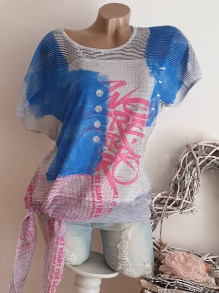 XL 42 MISSY bunt Shirt Tunika seitlich zum binden Ausbrenner