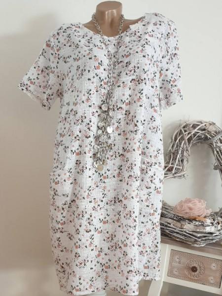 A-Linie Taschen Kleid 42 44 Kurzarm Italy weiss floral Print Tunika Leinen Optik