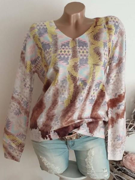 Pullover V-Neck MISSY L/XL 40 42 Pulli Feinstrick gemustert Print