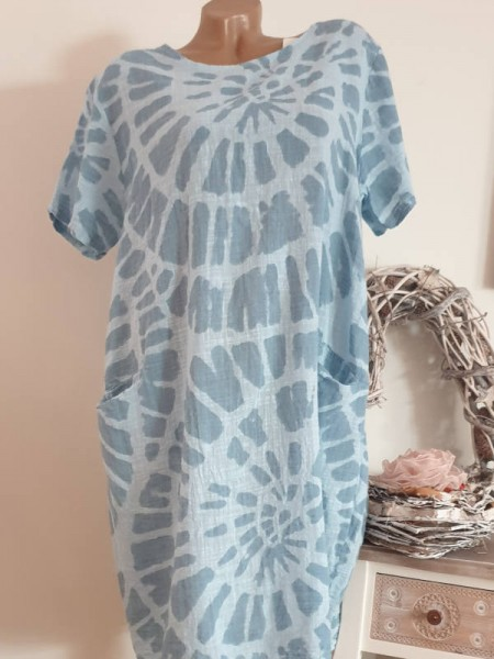 Kleid 44 46 48 Kurzarm Italy Tunika Ballonform blau gemustert Taschen