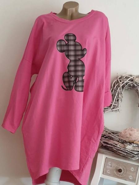 Long Tunika Sweatkleid 44 46 48 Baumwolle Kleid mit Taschen pink Mouse Italy
