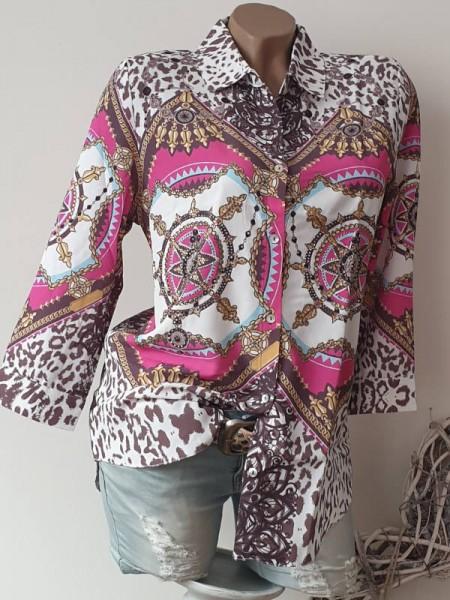 Tunika L 40 Hemdbluse Chiffon Bluse bunter Print MISSY 3/4 Ärmel