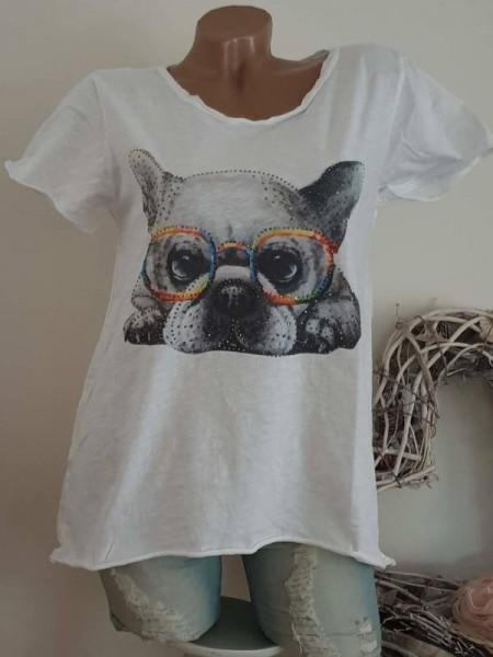 T-Shirt Shirt 38 40 42 Tunika cooler Print Glitzer Nieten unfinished