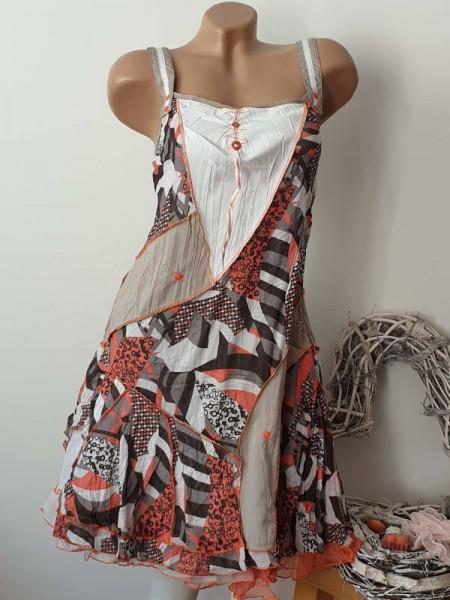 36 Trägerkleid Kleid crushig sichbare Aussennähte Lagenlook Patchworkkleid