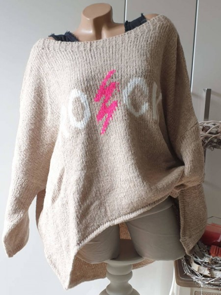 """38 40 42 44 46 oversized Pullover Strickpullover """"ROCK"""" vorne kürzer abgerundet"""