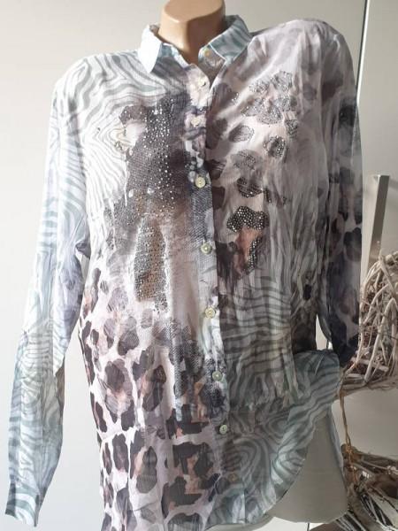 XL 42 MISSY Bluse Hemdbluse toller Print Tunika zum knöpfen NEU