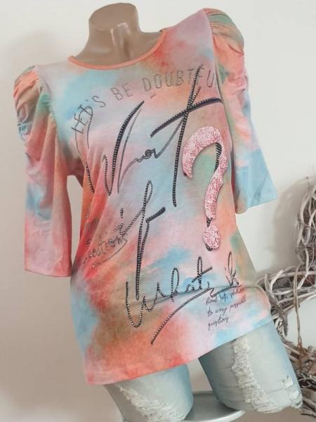 M 38 Tunika Shirt MISSY Geraffte 3/4 Ärmel bunt mit Schriftzug NEU