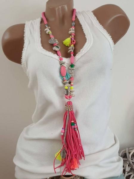 Kette Halskette pink bunt Charms Muscheln Hippie Perlen Charms Neu