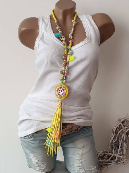 Kette Halskette neon gelb bunt Charms Muscheln Hippie Perlen Charms Neu