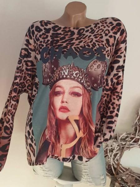 38 40 42 Tunika Longsleeve bunt Shirt toller Print NEU