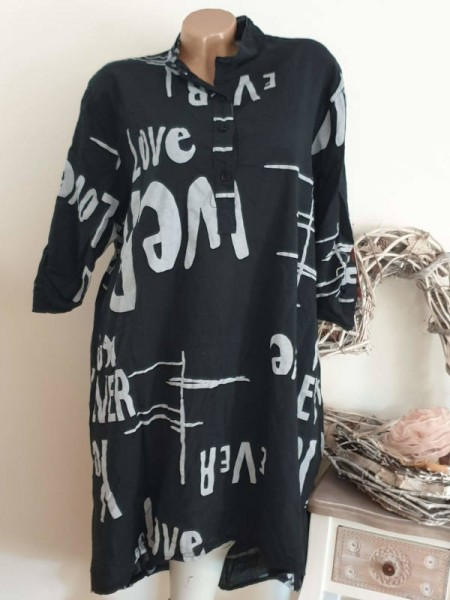 Hemdblusenkleid hinten länger Kleid schwarz weiss 40 42 44 Bluse Hemdbluse