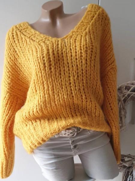 oversized Grobstrick Knit Pullover 36 38 40 42 Pulli orangegelb Mohair Wolle NEU