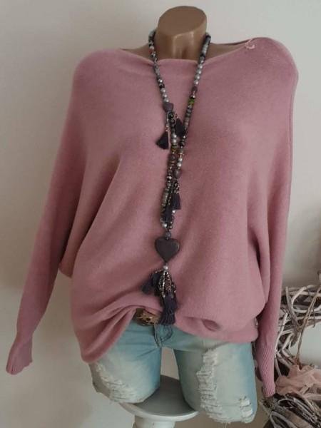 40 42 44 rosa oversized Pulli Feinstrick Pullover Fledermausarm ganz weich