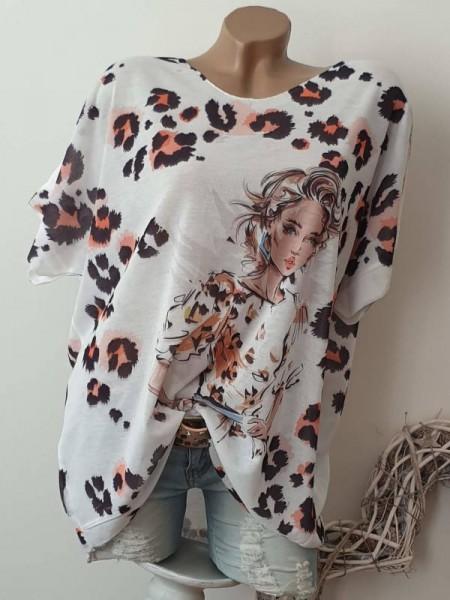 Kurzarm Shirt Tunika weiss Leo Muster 40 42 44 Feinstrick Lurex hinten länger
